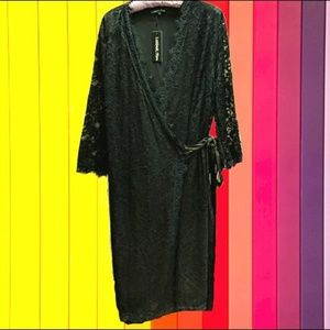 NWT Lookbook Lined Black Lace Wrap Dress Duster 3X